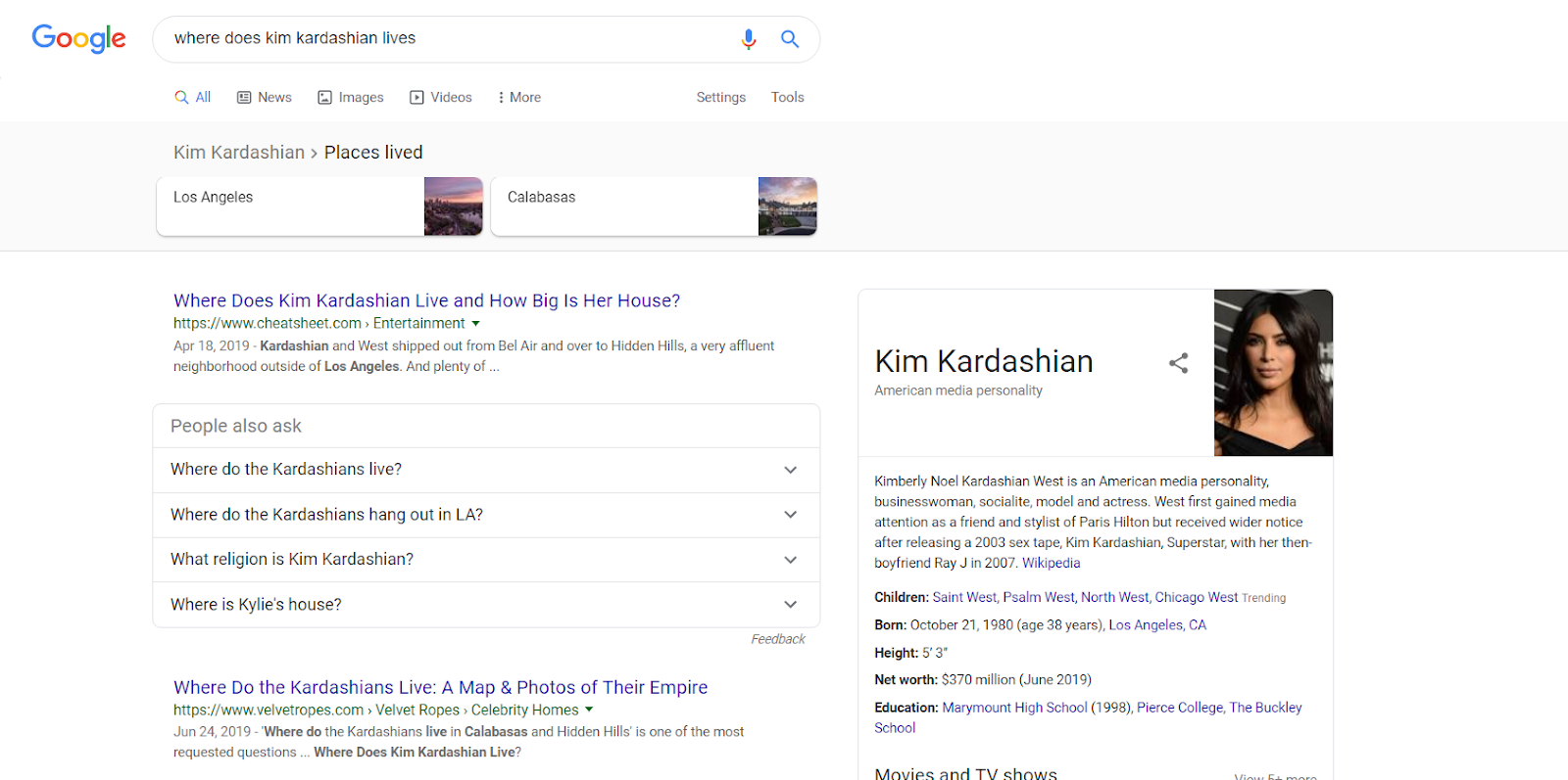 "query such as ""where does Kim Kardashian live?"""
